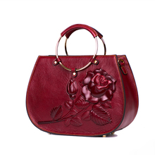 Bags Women Handbags Genuine Cow Leather Metal Handle Shoulder Bags Embossed Red Handbags for Women