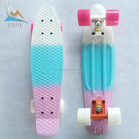 factory price blend colors plastic pp fish skate board for outdoor sports