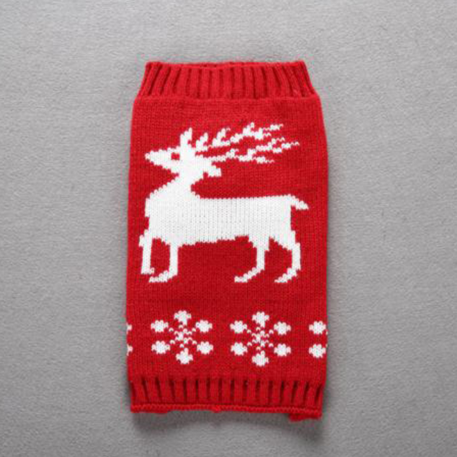 Dog Christmas Holiday Snow Reindeer Clothes Knit Warm Sweater for Dogs Cats