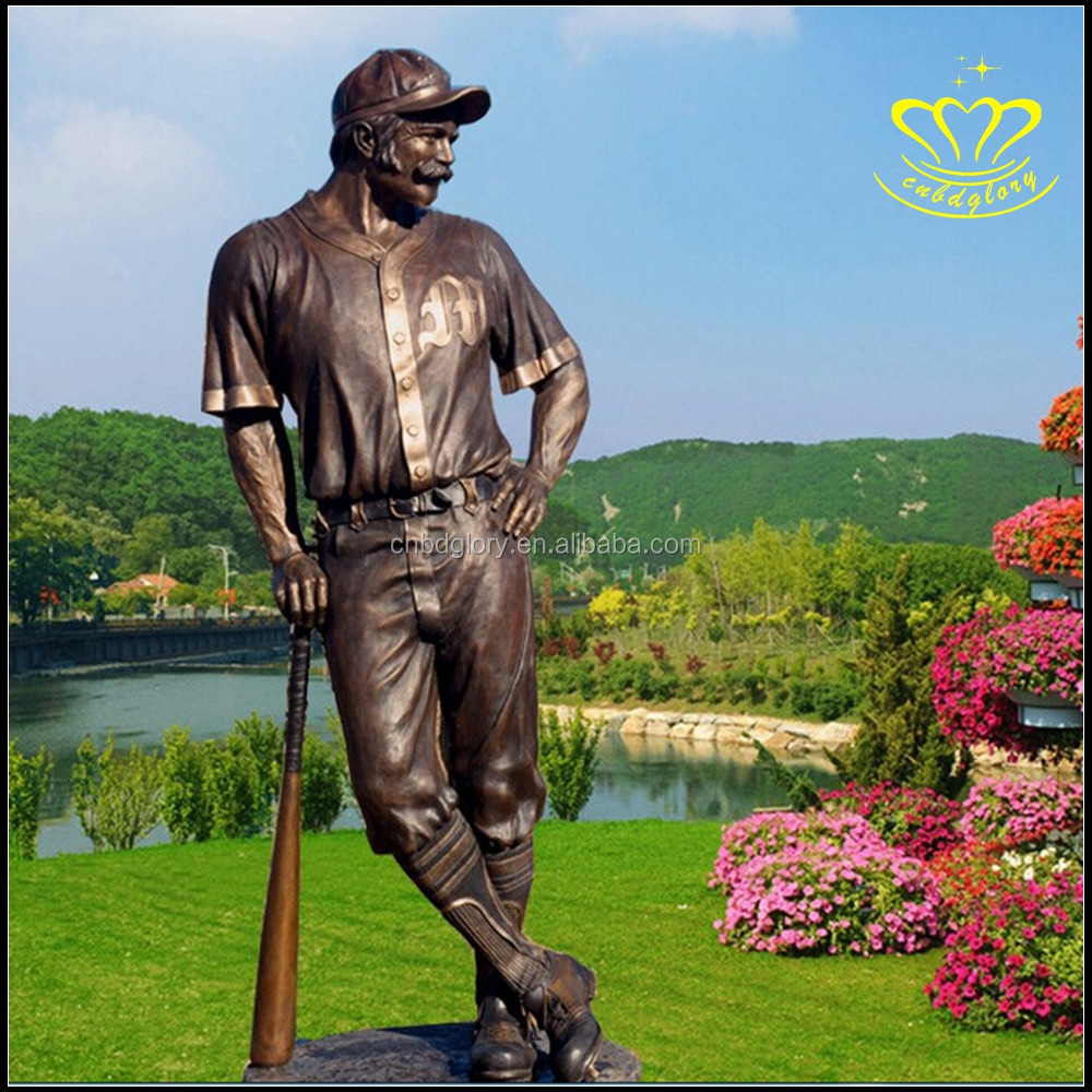 Sports Figure Baseball Player Bronze Statue Sculpture