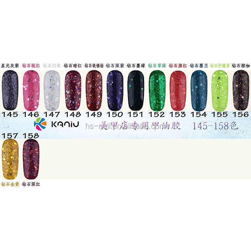 OEM 158 colors UV LED nail art gel polish soak-off QQ gel polish