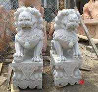 Mascot statue hand caved white marble Chinese lion foo dog statue