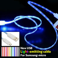 Led usb cable,usb cable for samsung galaxy note3 with LED light usb cable for Samsung iphone 4 5 6 HTC 8pin 5 pin 30pin ipod