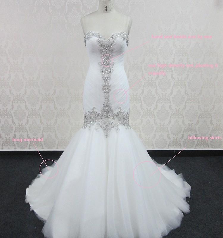 2017 hot sale elegant white mermaid bling wedding dresses for Wedding dress bling detail