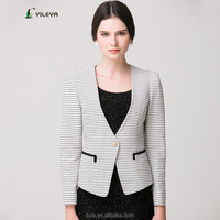 strip style one button designed lady office jackets with pockets