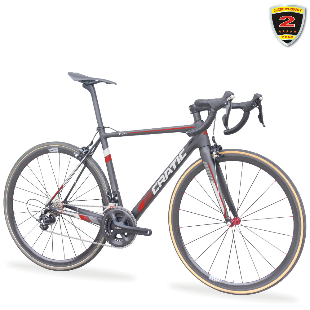 CRATIC 2018 Road <strong>Bikes</strong> 7.8K Carbon 105 groupset 36mm Tubular Wheel set Carbon Bicycle Road