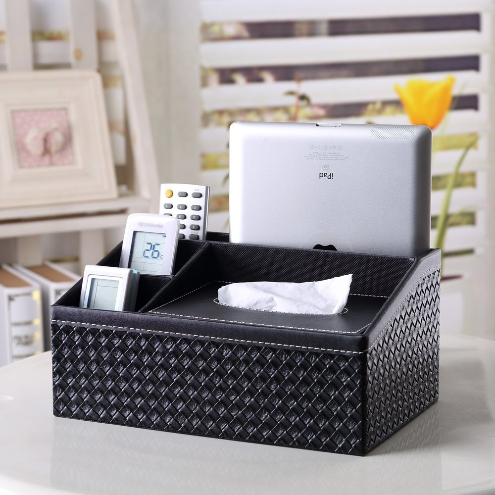 Fashion woven pattern multi-function leather receive a case /tissue box/ cortex paper box for your home bathroom office