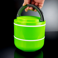 Hot! Double layer promotional plastic lunch box with foldable handle, insulated food container(Green Pink Blue)