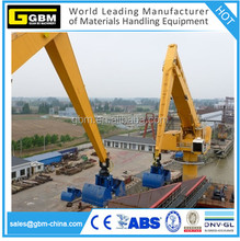 GBM fixed equilibrium crane with grab /rails/barge mounted/free standing/crawlers