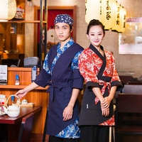 hot-sale 100% cotton uniform for Japanese restaurant waiter / waitress sushi bar classic uniform design Kanagawa wave