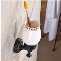 Wholesale And Retail Modern Wall Mounted Tooth Brush Holder W/ Ceramic Cup Oil Rubbed Bronze Flower Carved Bathroom Accessories