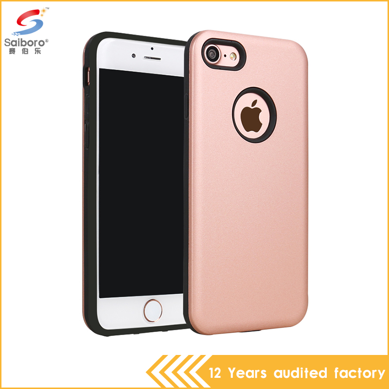 New arrive fancy low moq pc tpu hybrid rose gold phone cover for iPhone 7