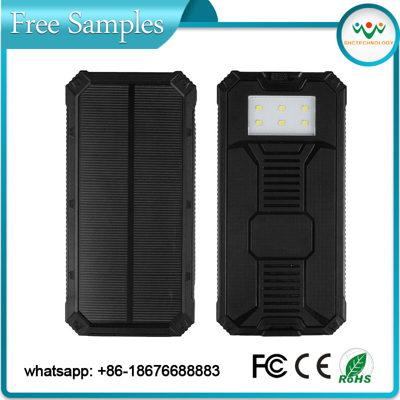 Fashional water/shock proof portable solar panel charger 10000mAh Port 5V Input with LED Ligh