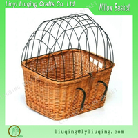 Wicker Pet Bike Basket Bicycle Willow Small Dog Cat Carrier Cage Bicycle Basket For Dog