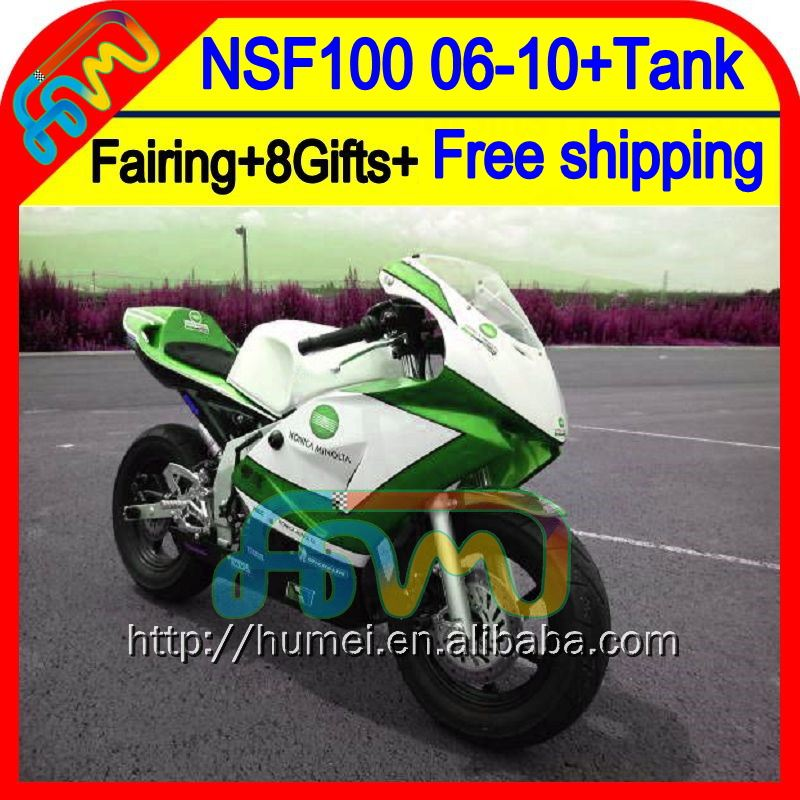 8Gift For HONDA NSF100 KONICA green 06-10 NSF 100 06 07 08 09 10 63HM36 NSF-100 Green new 2006 2007 2008 2009 2010 Race Fairing