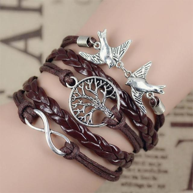 2016 New Infinity Love Leather Love Owl Leaf Charm Handmade Bracelet Bangles Jewelry Friendship Gift Items