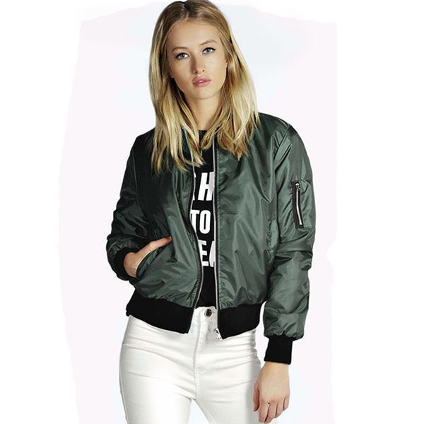 2016 Autumn Fashion Women Wholesale Blank Varsity Jackets Ladies Stand Collar Ribbed Cuff Hem Solid Plain Sports Bomber Jacket
