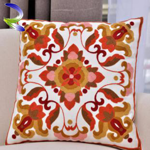 China supplier hand embroidery designs machine washable custom made cushion cover