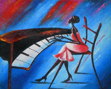 2015 New Arrive Handmade Abstract African Lady Playing Piano Oil Painting