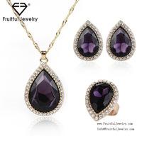amethyst stone necklace set, rhinestone necklace set precious crystal jewelry set, top quality jewelry