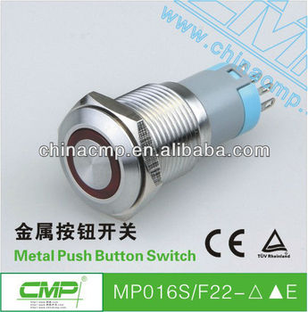 16mm stainless steel pushbutton switch with pilot light