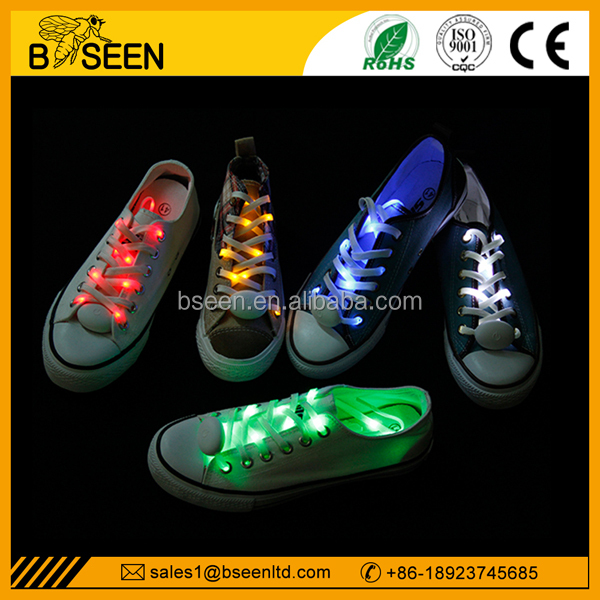 Party Festival LED Glow Shoelace With Colorfu Light, Promotion Fiber Optic Glowing LED Glow Shoelace