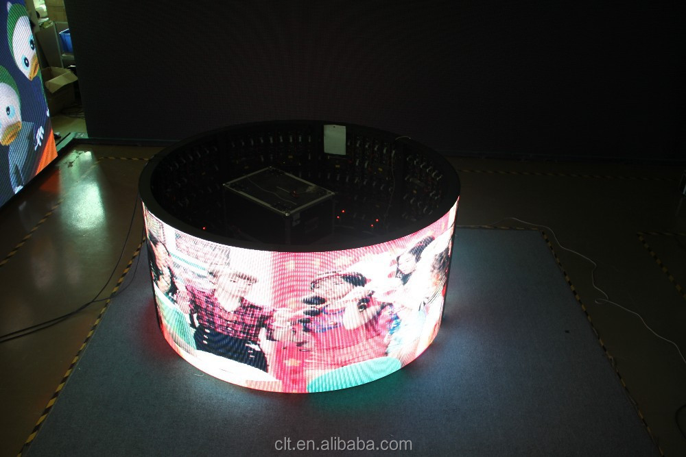 Cylinder LED advertising display, high quality flexible indoor full color 1R1G1B led advertising screen