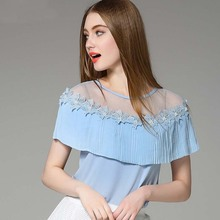 WA2591 Shawl collar short sleeve elegant design women beautiful chiffon shirt and tops