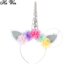 Cat ear unicorn headband with colorful flowers for girls