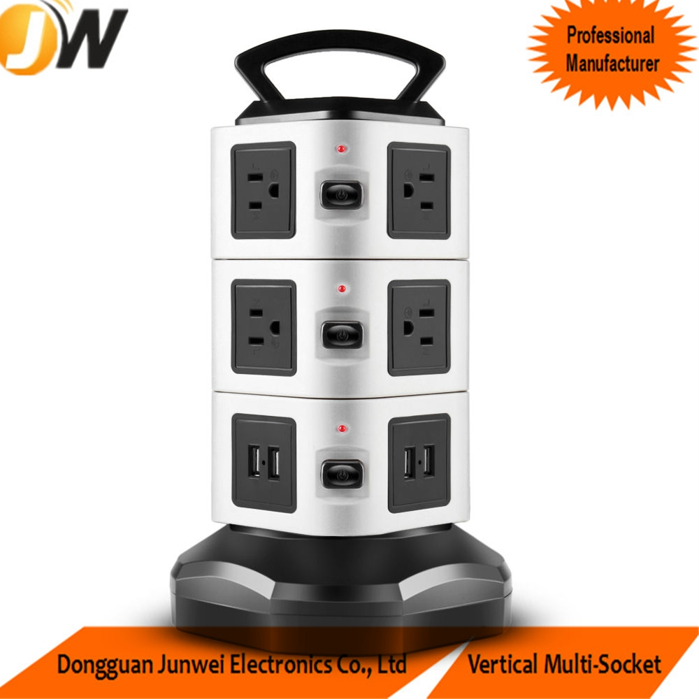Power Strip Power Socket Cube with 10 outlets 4 USB Ports Tower