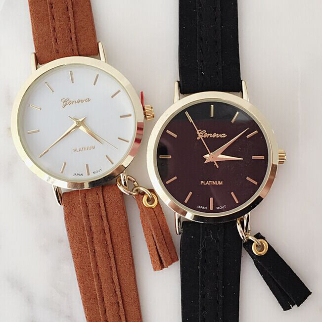 2016 New arrived Suede Tassel Watch vogue lady watch