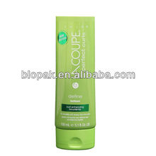 Dia 50mm 150ml plastic oval colored tube with silk screen printing and hot stamping green foil for cosmetics lotion packaging