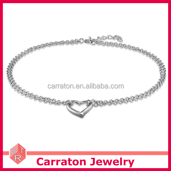 wholesale 925 sterling silver rhodium plated heart charm anklet for women