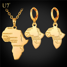 U7 Africa Map Jewelry Set for women Necklace & Drop Earrings Women Gift Platinum/Yellow Gold Plated Ethiopian African Jewelry