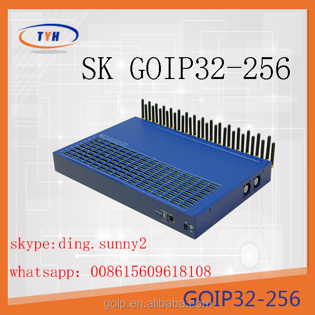 Free registration 32 channels voip gateway goip 32/256 gsm sim box sms