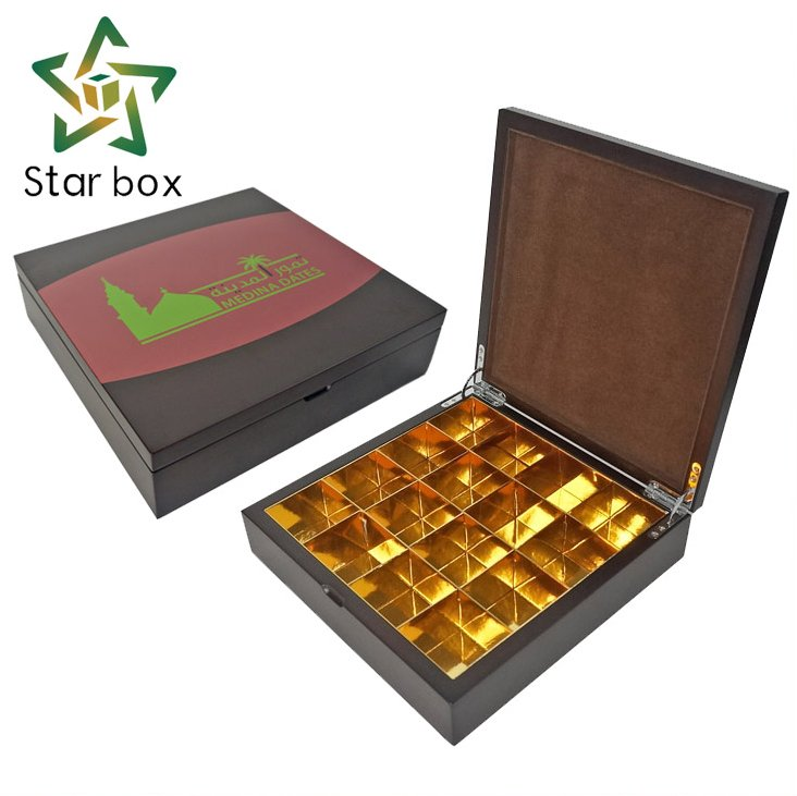 Sweet Candy Food Packaging Box Wholesale, Arabic Jujube Dates Gift Wooden Boxes with Golden Card Tray