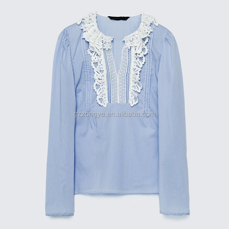 Korean style lace design neckline women t-shirt, stripe cotton ladies clothes