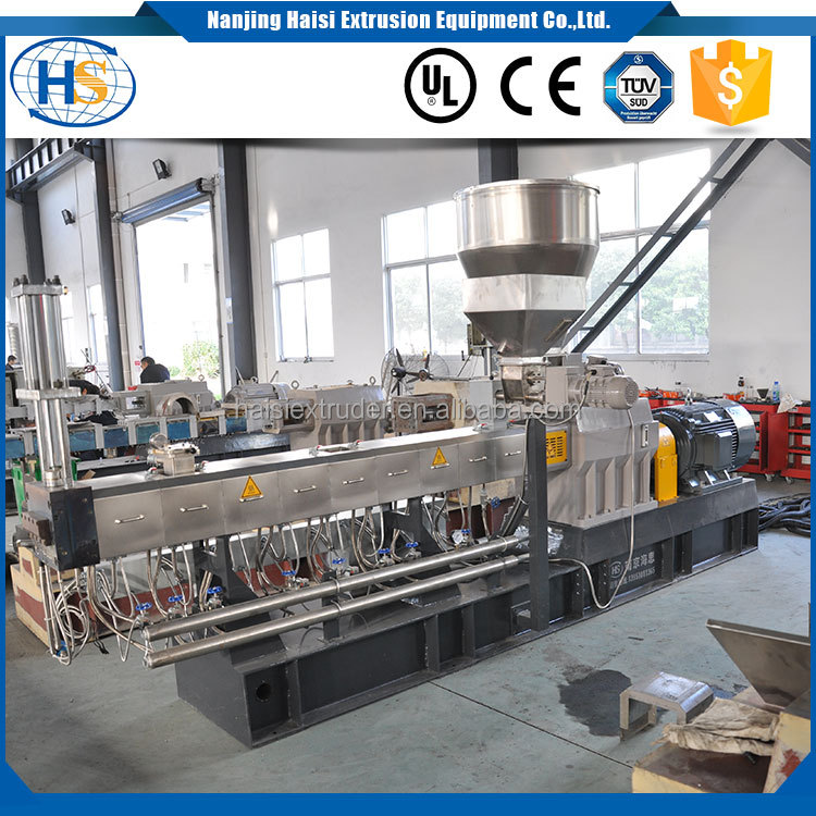 co-rotating twin screw extrusion raw material plastic granulator pelletizer /hot melt extruder machine
