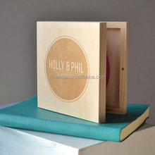Unpainted Natural Color Laser Engraved Wooden CD/DVD/VCD Box