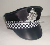 Adult Black English Policeman officer Hat for party