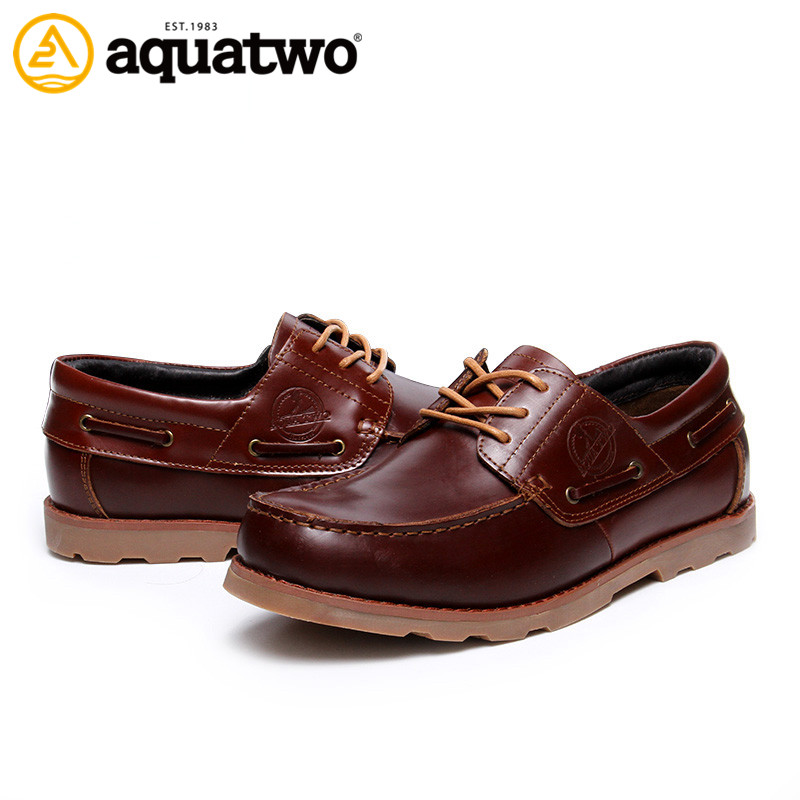 Alibaba Wholesale Aquatwo Branded Casual Style Genuine Leather Dress Shoes For Men Footwear From China Factory