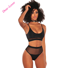 Woman African High Waist Swimsuits Black Fishnet Sexy Bikini 2018