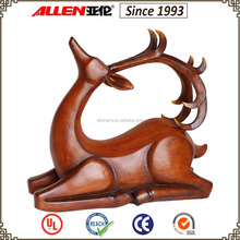 "14.6"" poly resin deer figurine for home decoration, wood finish fiberglass deer statue wholesale"