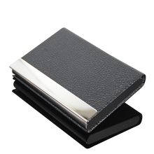 Stainless Steel Card Case Business Credit Card Holder Black PU Leather Fancy Card Holder <strong>Wallet</strong>