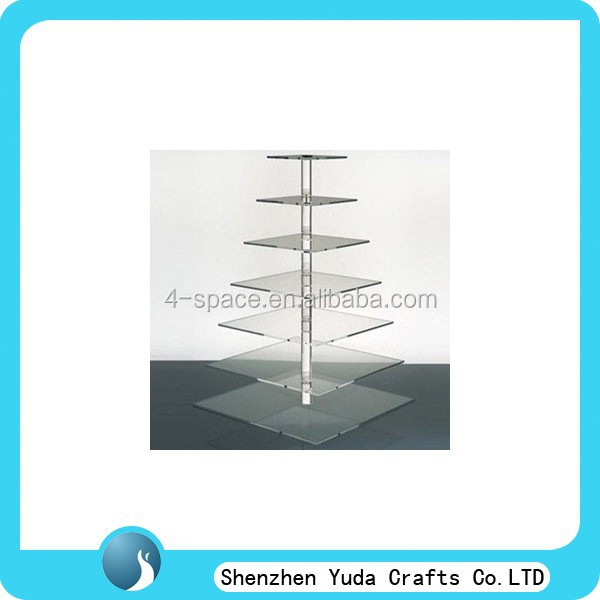 7 tiers transparent wedding cake decoration <strong>retail</strong> shop sale square cupcake stand