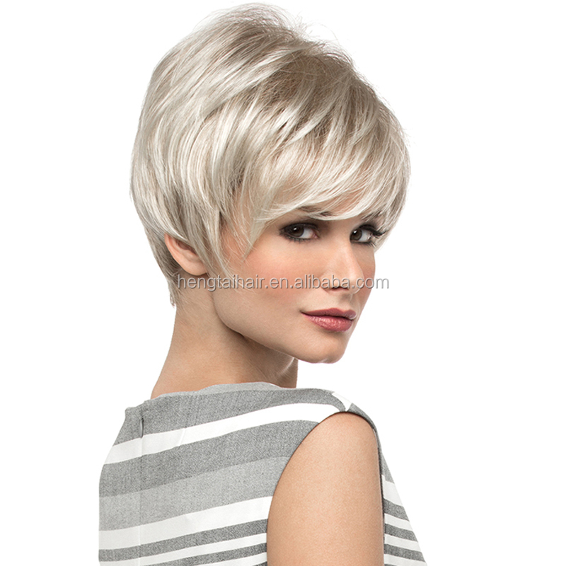 Lady Short Straight Blonde Wig Heat Resistant African American Realistic Wigs Synthetic Hair Wigs For Black Women Drag Queen