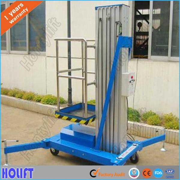 Mobile hydraulic double mast aluminum single man sky lift