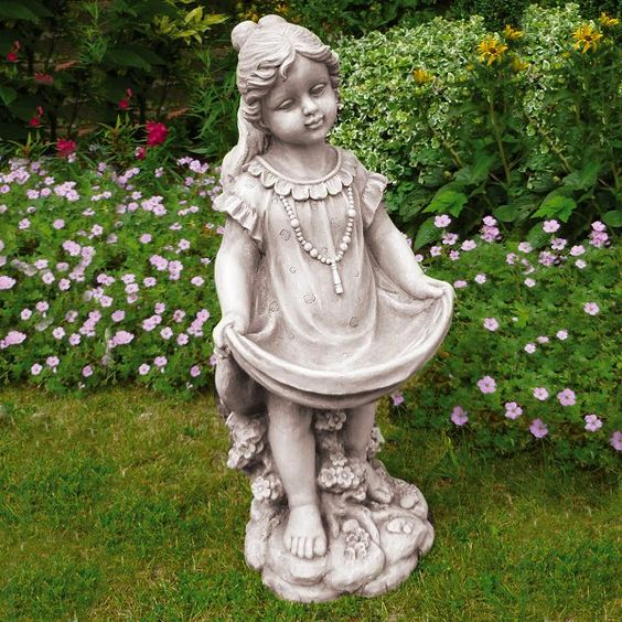child and woman large stone garden statues