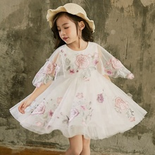 B14221A high quality <strong>girl's</strong> embroidery lace princess <strong>dress</strong>