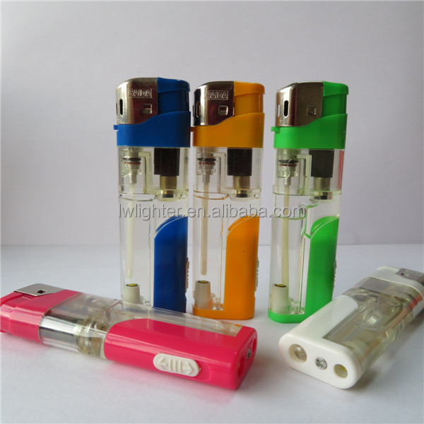 Semi Transiparent LED Disposable Refillable 82mm Electronic Lighter